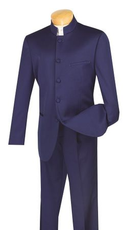Vinci Men's Navy Blue Chinese Collar Suit 5 Button N5HT - click to enlarge
