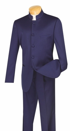 Vinci Mens Navy Blue Chinese Collar Suit 5 Button 5HT - click to enlarge