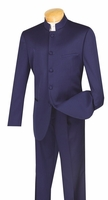 Vinci Mens Navy Blue Chinese Collar Suit 5 Button 5HT