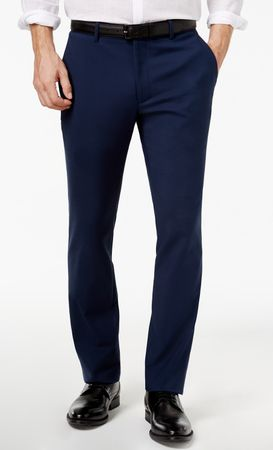 Vinci Mens Navy Blue Flat Front Pants ON-900