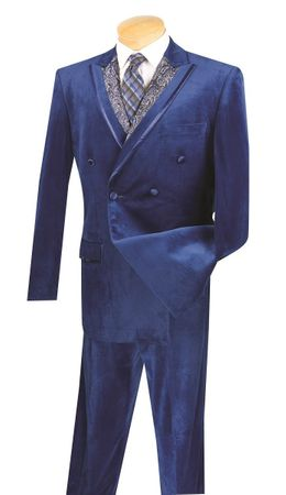 Vinci Men's Navy Blue Velvet Suit Double Breasted F2DG-1 - click to enlarge
