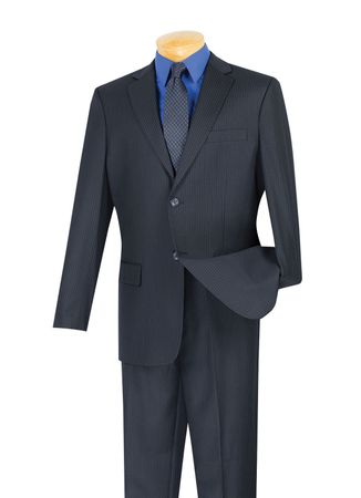 Vinci Mens Navy Executive Pinstripe 2 Piece Wool Blend Suit 2WS-1