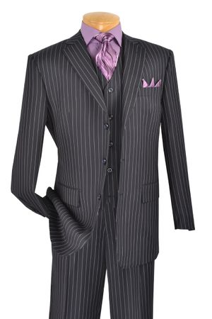Vinci Mens Blue Stripe 3 Piece Suit V3RS-9