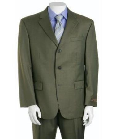 Men's Olive Green Wool Suit 3 Button Super 150s Alberto 3BVP-1 2pc - click to enlarge