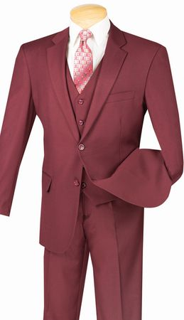 3 Piece Suit Mens Burgundy 2 Button Vinci V2TR
