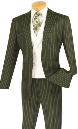 Vinci Mens Olive Stripe White Vested Fashion Suit V2RS-6 - click to enlarge