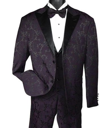 Men's Paisley Fashion Tuxedo Dark Purple Vest Bow Tie Joy 9274-809