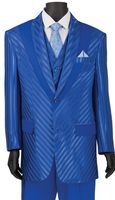 Vinci Mens Royal Blue Shiny Stripe 3 Piece Fashion Suit 23RS-9