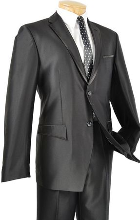 Shiny Black Slim Fit Suits Glossy Fitted 2 Button Vinci S2RR-4 Size  40 Long Final Sale