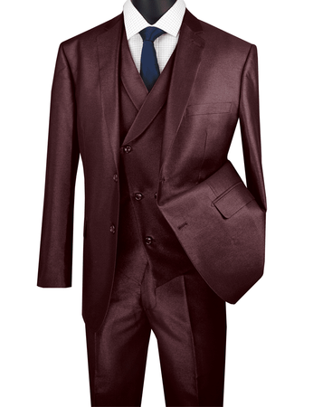 Men's Tailored Fit Burgundy Sharkskin Suit with Slant Vest Vinci MV2R-1