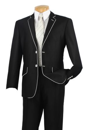 Vinci Men's Slim Fit Black White Fancy Piping Trim Suits S2PN-1 - click to enlarge