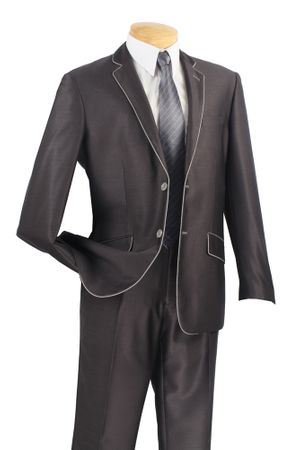 Vinci Young Men's Slim Fitted Style Charcoal White Edged Suit S2PN-1 - click to enlarge