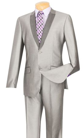 Vinci Men's Slim Fit Gray Shiny Sharkskin Tux Style Suit S2PS-1
