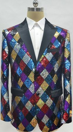 Mens Sequin Multi Color Diamond Pattern Blazer Alberto Fashion-6# - click to enlarge