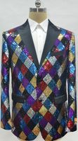 Mens Sequin Multi Color Diamond Pattern Blazer Alberto Fashion-6#