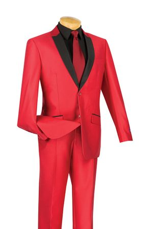Vinci Men's Slim Fit Red Sharkskin Shiny Tuxedo Style Suit S2PS-1
