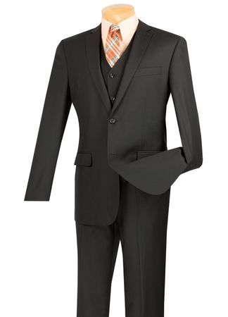 Young Man Slim Fit Skinny Style Suit 3 Piece Black Woven Solid SV2900 - click to enlarge