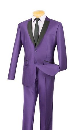 Vinci Men's Slim Fit Shiny Purple Sharkskin Evening Style Suit S2PS-1  - click to enlarge