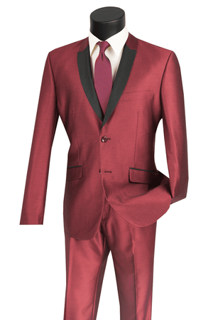 Vinci Men's Slim Fit Shiny Maroon Sharkskin Prom Party Suit S2PS-1