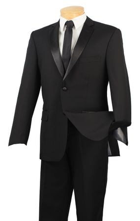 Slim Fit Tuxedo 2 Button Jacket Black Tux Vinci T-SC900