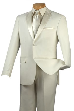 Slim Fit Tuxedos Mens 2 Button Ivory Tux Vinci T-SC900