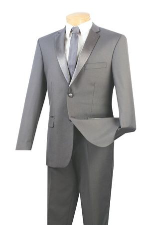 Slim Fit Tuxedos Mens 2 Button Seacrest Grey Tux Vinci T-SC900