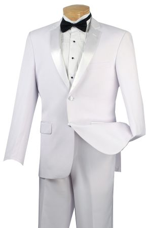 Slim Fit Tuxedo Mens 2 Button White Tux Vinci T-SC900