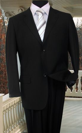 Vinci Mens Solid Black 2 Button Suit with Flat Front Pants 2C900-2