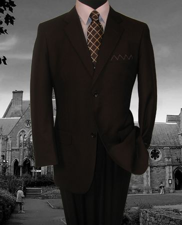 Vinci Mens Solid Brown 2 Button Suit with Flat Front Pants 2C900-2