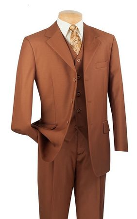 Vinci Mens Solid Cognac Wool Touch Super 150s 3 Piece Suit 3TR-3 - click to enlarge