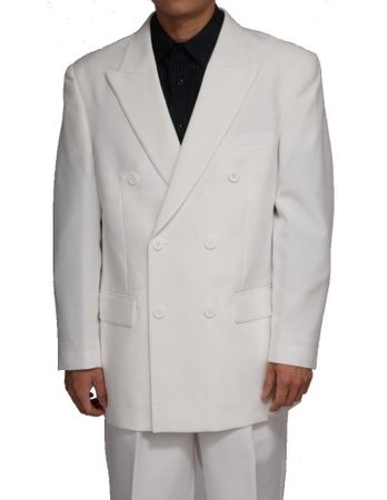 Mens Solid White Double Breasted 6 Button Dress Suit DPP
