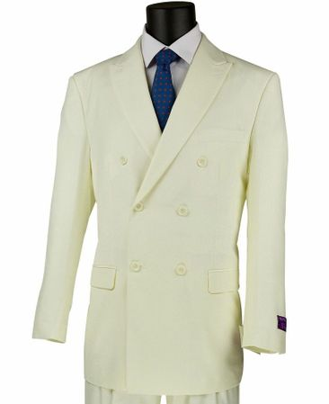 Mens Solid Cream Double Breasted Dress Suit 6 Button Milano 901