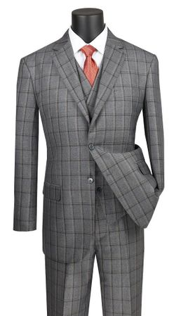 Men's Gray Windowpane 3 Piece Suit Vinci NV2RW-12 - click to enlarge
