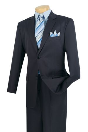 Business Suit for Men Solid Navy Blue Front Pants 2C900-2