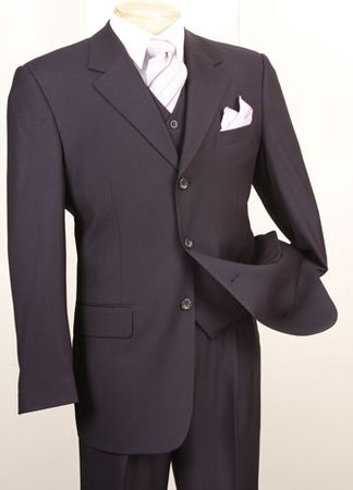 Vinci Navy Blue 3 Piece Suit Mens Solid Color Wool Feel 3TR-3