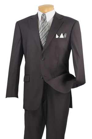Men's Charcoal Gray 2 Piece Suit Wool Feel 2C900-2 Size 42L and 48L Final Sale
