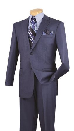 Vinci Mens Suit Heather Blue Texture Flat Front 2LK-1