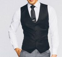 Vinci Mens Black Suit Vest OV-900