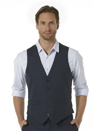 Vinci Mens Navy Blue Suit Vest OV-900 - click to enlarge