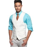 Vinci Mens White Suit Vest OV-900