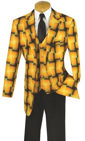 Vinci Mens Sunflower Huge Plaid 3 Piece Fashion Suit 23WP-2 - click to enlarge