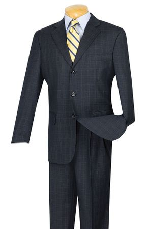 Vinci Mens 3 Button Window Pane Design Suit Blue 3RW-15 - click to enlarge