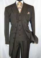 Men's Brown Zoot Suit Tone on Tone Stripe 3pc Fortino 29198 Size 40 Long Final Sale