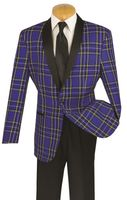 Vinci Mens Unique Blue Plaid Jacket Tuxedo T-RW