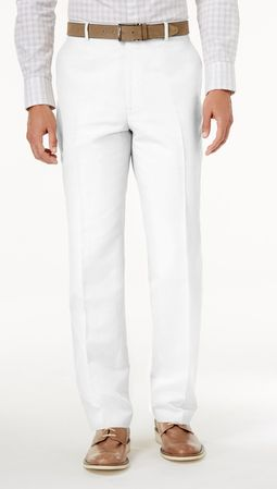 Vinci Mens All White Flat Front Pants ON-900