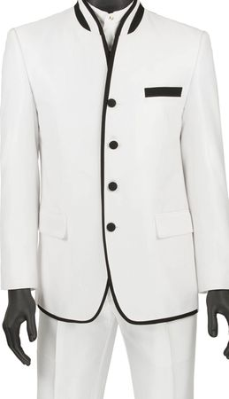 Vinci Mens White Mandarin Collar Suit Slim Fit S4HT-1