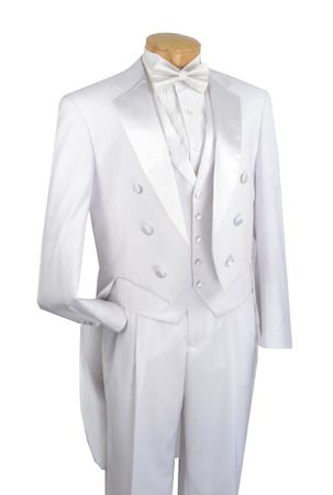 Vinci Men's White Tuxedo with Tails White Vest Pants Formalwear T-2X - click to enlarge