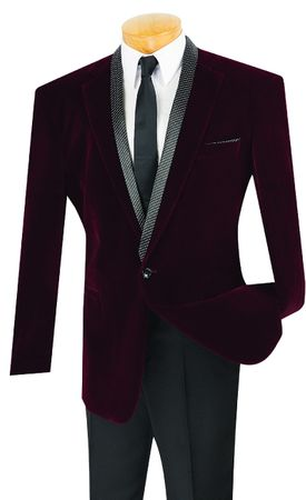 Vinci Mens Black Velvet Blazer Removable Scarf B-17 Size 5XL Final Sale - click to enlarge