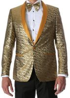 Men's Gold Fancy Fitted Entertainer Tuxedo Jacket Ferrecci Webber Size 3XLarge Final Sale