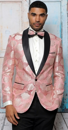 Manzini Dinner Jacket Modern Fit Pink Floral Embroidered MZS-295 Bow - click to enlarge